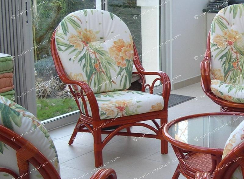 Fauteuil palma fauteuil en rotin haut dossier - Salon en rotin pour veranda ...