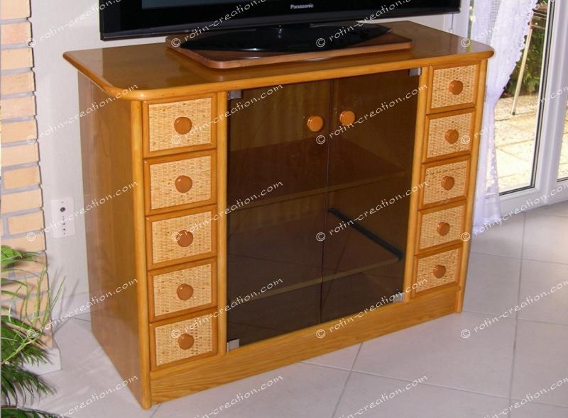 Meuble tv hifi belfort n 4 meuble tv hifi avec 8 for Meubles rotin pour veranda
