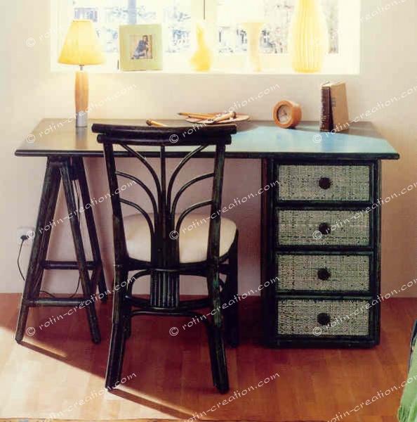 Bureau gigny pm 4 tiroirs bureau modulable avec - Bureau avec treteaux ...