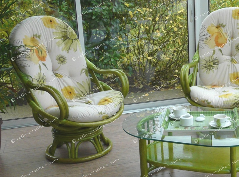 Fauteuil luna pivotant fauteuil haut dossier pivotant - Salon en rotin pour veranda ...