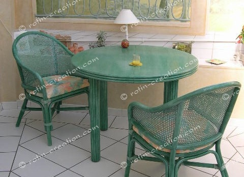 Table ronde carlat avec 2 allonges table ronde diam tre for Table a manger rotin
