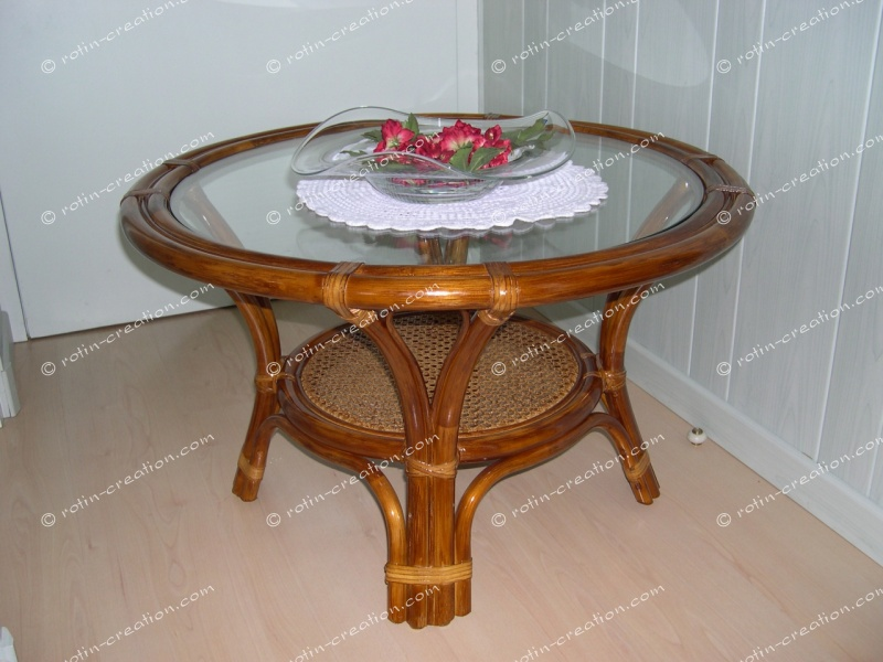Table de salon flower table de salon ronde dessus verre dessous tissage ajo - Dessus de table en verre ...