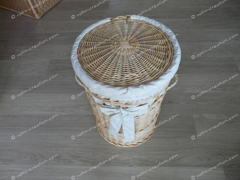 panier linge rond mm avec housse panier linge rond en osier moyen mod le avec housse toile. Black Bedroom Furniture Sets. Home Design Ideas