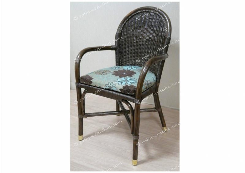 Chaise fidji sans coussin avec accoudoirs chaise en for Coussin pour chaise rotin