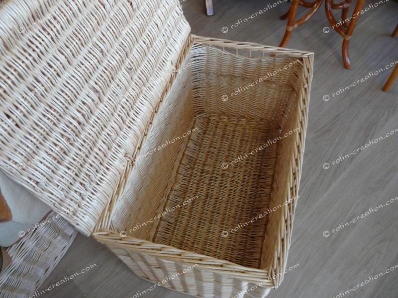 coffre plat en osier simple en l80 coffre en osier blanc. Black Bedroom Furniture Sets. Home Design Ideas