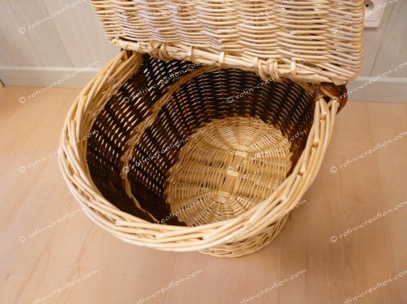 Panier provisions crocane avec couvercle panier provisions ovale - Panier en osier avec couvercle ...